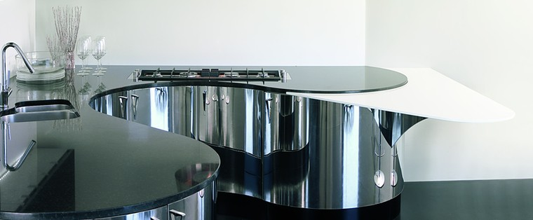 Italienische Designerküche Mit Küchenoberfläche In Edelstahl Poliert (Aster  Cucine Domina ...