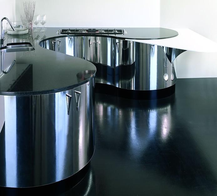 Italienische Designerküche Mit Küchenoberfläche In Edelstahl Poliert (Aster  Cucine Domina Acciaio)