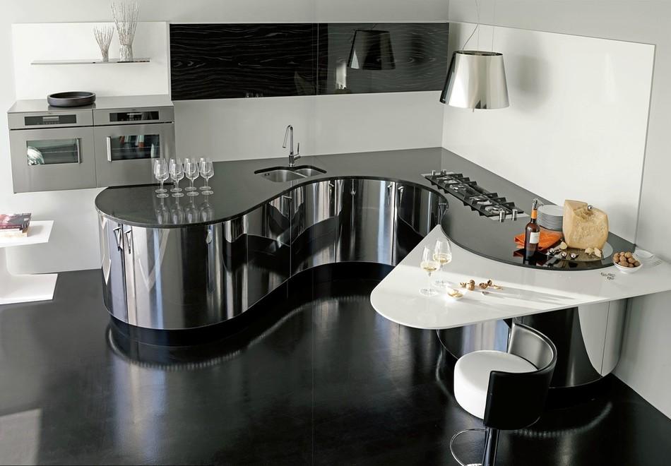 exklusive luxusk chen italienische designerk chen aus professionellem edelstahl mit echtholz. Black Bedroom Furniture Sets. Home Design Ideas